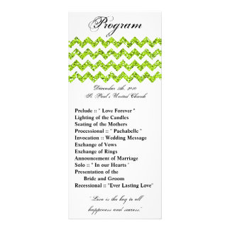 25 4x9 Wedding Program Lime Glitter Chevron Zig Rack Cards