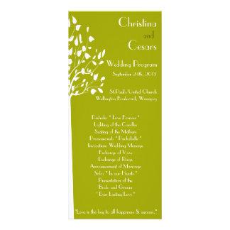 25 4x9 Wedding Program Modern Green Trees white Gr Full Colour Rack Card
