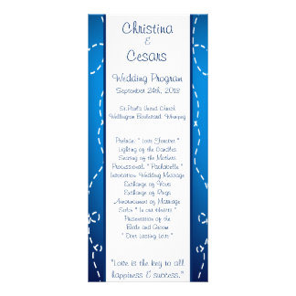 25 4x9 Wedding Program Paper Plane Blue Swirl Loop Custom Rack Cards