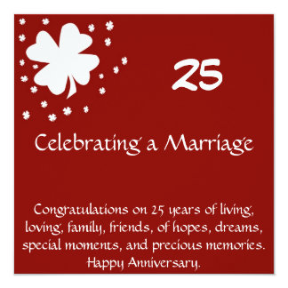 """25 Anniversary Card 5.25"""" Square Invitation Card"""