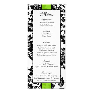 25 Black/Lime Green Floral Damask Wedding Menu Customized Rack Card