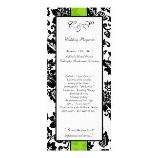 25 Black/Lime Green Floral Damask Wedding Programs Rack Card Design