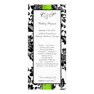 25 Black/Lime Green Floral Damask Wedding Programs Rack Cards