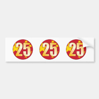 25 CHINA Gold Bumper Sticker