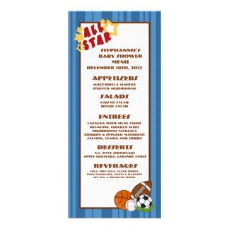 25 Menu Cards All Star Blue Personalised Rack Card