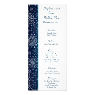 25 Menu Cards Blue Stars and Snowflakes Rack Card Template