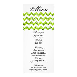25 Menu Cards Lime Glitter Chevron Zig Zag Print Full Color Rack Card