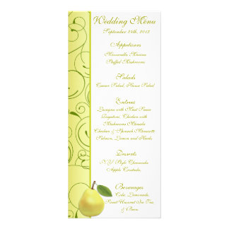 25 Menu Cards Lime Green Pear Swirls Custom Rack Card