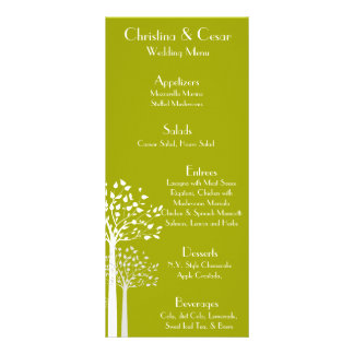 25 Menu Cards Modern Green/White Trees White lime Customised Rack Card