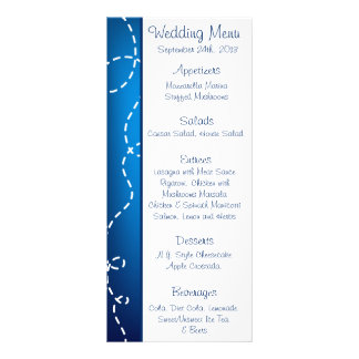 25 Menu Cards Paper Plane Blue Swirl Loops Flying Rack Cards