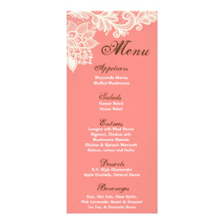 25 Menu Cards Vintage Victorian Lace Coral Pink Full Colour Rack Card
