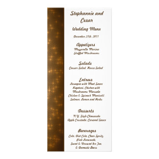 25 Menu Cards Winter Brown / Stars & Bubbles Rack Card Design