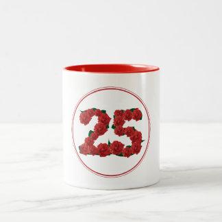 25 Number 25th Birthday Anniversary red mug