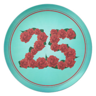 25 number birthday anniversary 25th roses plate