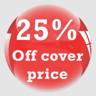 25% (Percent) Off Cover Price Round Glossy Sticker