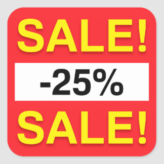 25 percent sale discount stickers