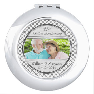 25 Silver Anniversary Custom Photo Compact Mirror