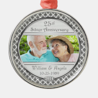 25 Silver Anniversary Damask Photo Ornament
