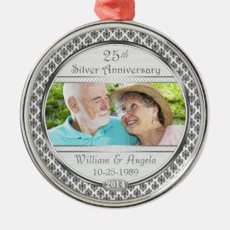 25 Silver Anniversary Damask Photo Ornament