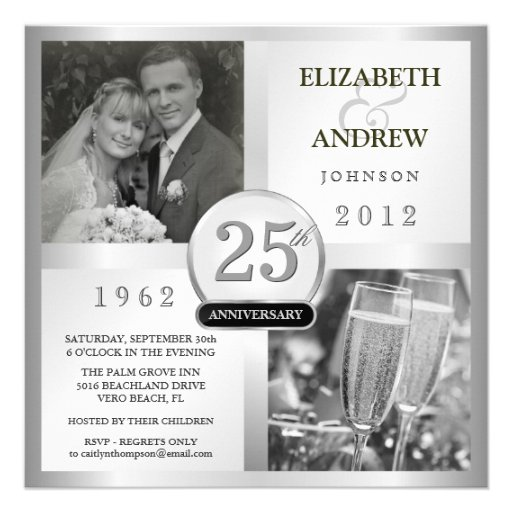 25 Silver Wedding Anniversary - Photo Invitations