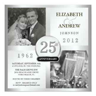 25 Silver Wedding Anniversary - Photo Invitations