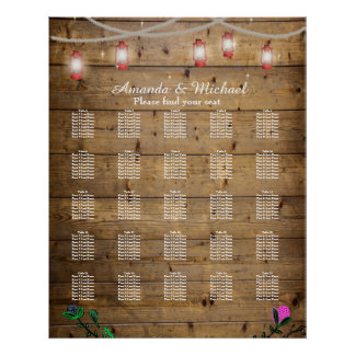 25 Tables Rustic Lantern Lights Seating Poster
