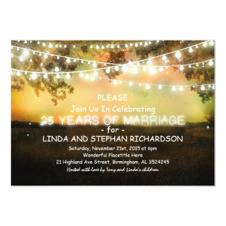 25 wedding anniversary invitations - string lights