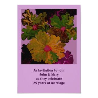 25 year anniversary 13 cm x 18 cm invitation card