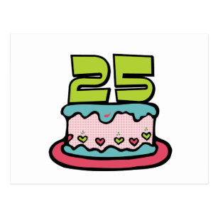 25 Year Old Birthday Cake Postcard
