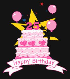 25 Year Old Birthday Cake T Shirt