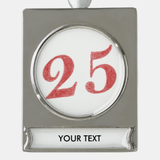 25 years anniversary silver plated banner ornament