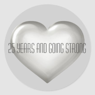 25 Years Going Strong Silver Heart Anniversary Round Sticker