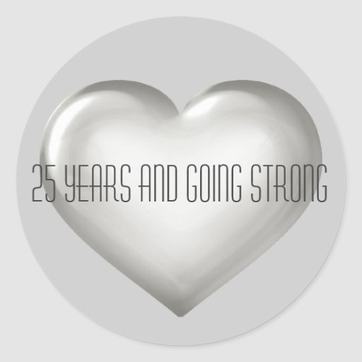 25 Years & Going Strong Silver Heart Anniversary Round Sticker