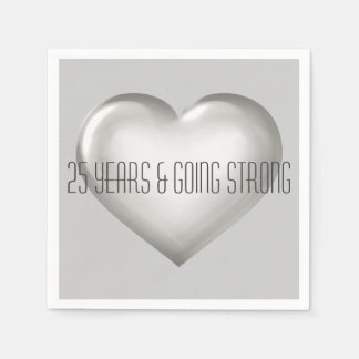 25 Years Going Strong Silver Heart Anniversary Disposable Napkins