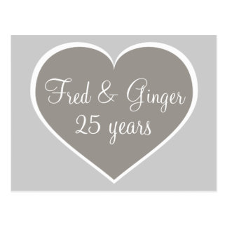 25 years silver and white heart silver anniversary postcard