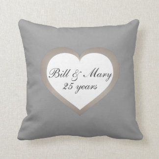 25 Years Silver Anniversary Throw Pillow