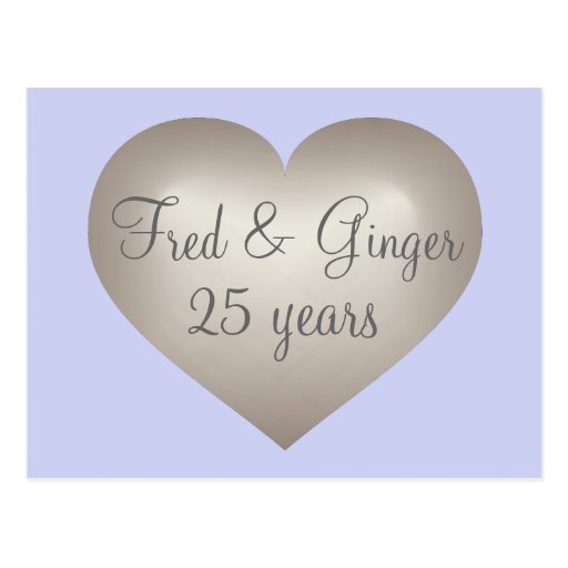 25 years silver fade heart silver anniversary postcard