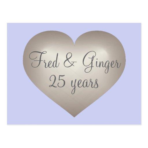 25 years silver fade heart silver anniversary postcard