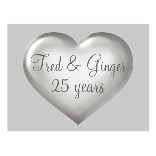25 years silver glass and white heart anniversary postcards