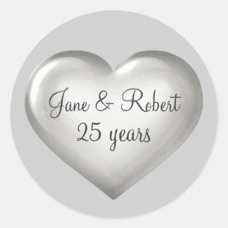 25 Years Silver Glass Heart silver anniversary Round Sticker
