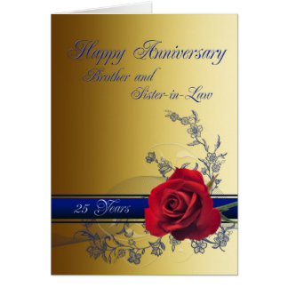 25th Anniversary card,Brother and Sister-in-law Card