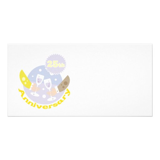 """25th Anniversary"" Champagne Toast design Custom Photo Card"