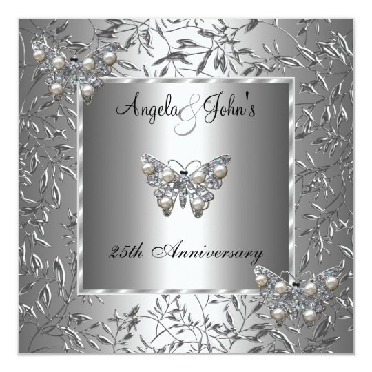 25th Anniversary Elegant Silver Floral Butterfly Card