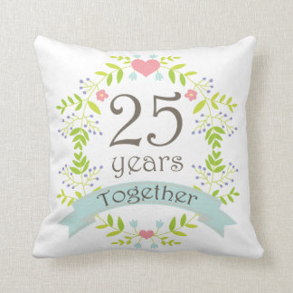 25th Anniversary Gift Throw PIllow Cushions