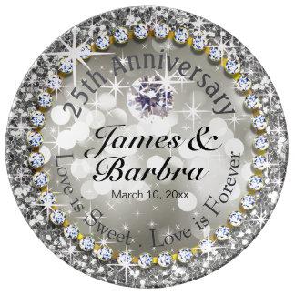 25th Anniversary Glitzy Diamond Bling   silver Plate