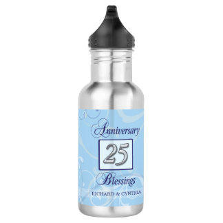 25th Anniversary in Blue and Silver 532 Ml Water Bottle