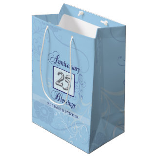 25th Anniversary in Blue and Silver Medium Gift Bag