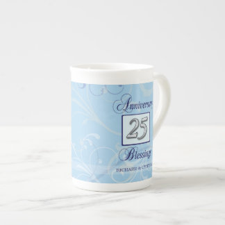 25th Anniversary in Blue and Silver Tea Cup