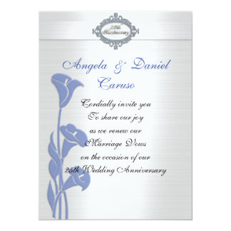25th anniversary Invitation blue calla lilies