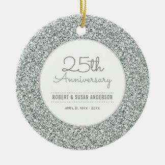 25th Anniversary Keepsake Faux Silver Glitter Round Ceramic Decoration